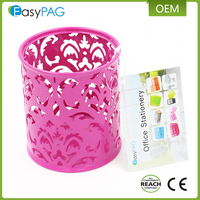EasyPAG 2 Pcs 3-1/4 inch Dia x 3-3/4 inch High Round Metal Embossing Pen Pencil Holder