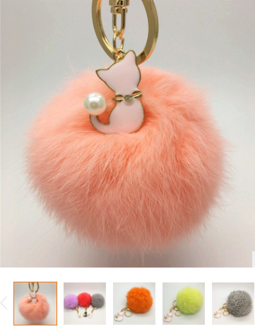 2017 new design rainbow color fur pom pom keychain bag charms wholesale Fur ball bag charms fur ball charms for woman hand bags