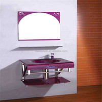 Wall mounted bathroom glass commercial hand wash basin with shelf