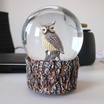 XMT Owls snow globe with resin wooden base