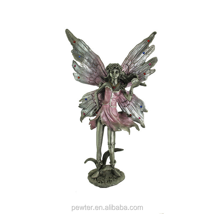 pewter fairy statue