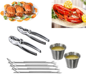 Stainless Steel Seafood Serving Set 8 Piece Included 2 Lobster Crackers ,4 Seafood Forks And 2 Condiment Sauce Cups