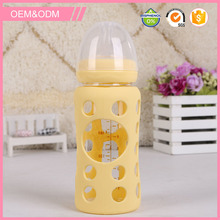 Wide neck straight body glass bottle baby feeding