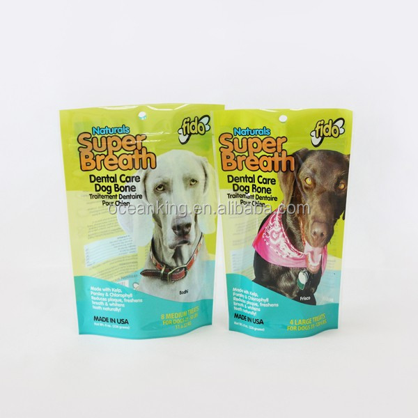 printed design dog food stand up plastic package bag with tear nick