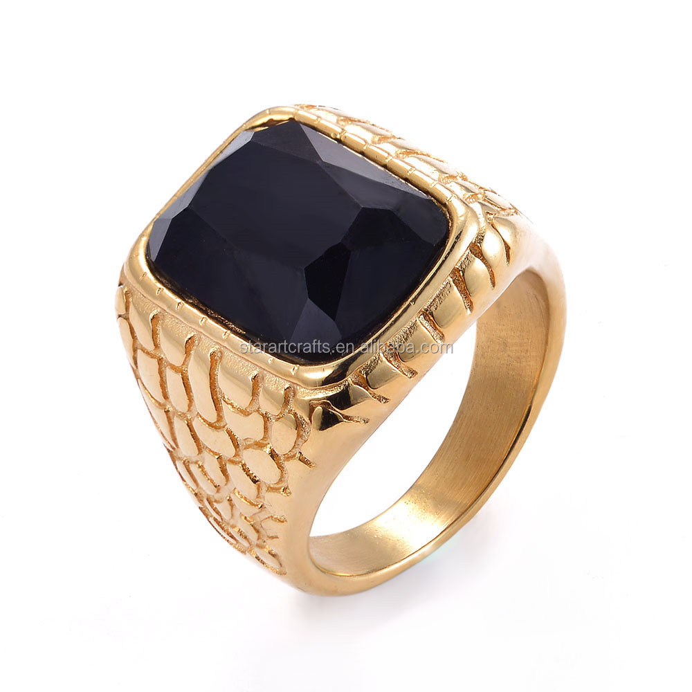 New Design wholesale american gold plated paved black stone ring,18k gold ring men jewelry
