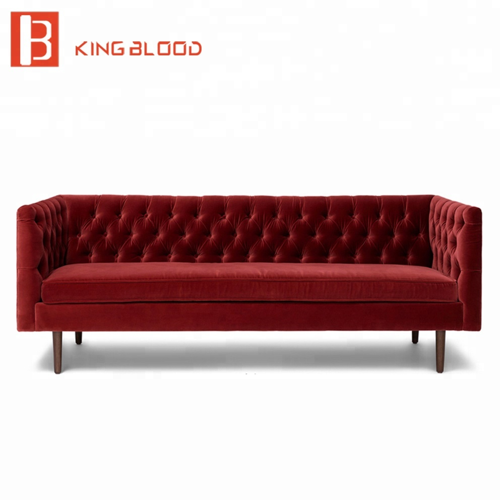 Button Tufted Velvet Fabric 3 Seat Couch Living Room Furniture Sofa ...