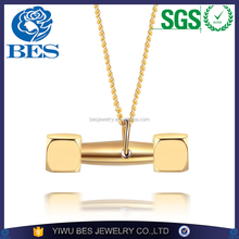Hang Weight Pendant Custom Stainless Steel Gold Pendant Designs Men Bodybuilding Jewelry Dumbbell Pendant