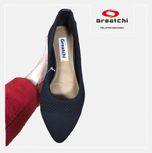 2017 flyknit material ladies wholesale china flat shoe