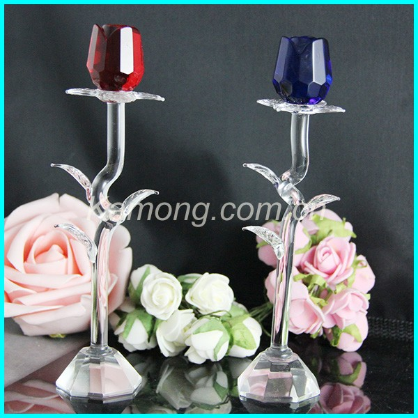 2016 new design romantic 15cm red and blue crystal rose flower for the valentine's day