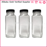 8oz 16oz French Square clear Glass Beverage Bottles with screw cap