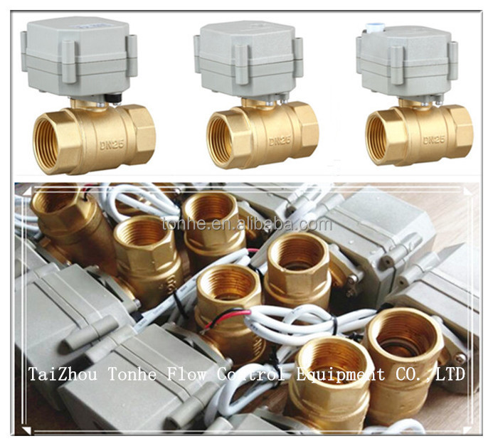 1 inch Motorized Brass Ball Valve ,DN25 valve DC12V CR201 wiring,with manual override
