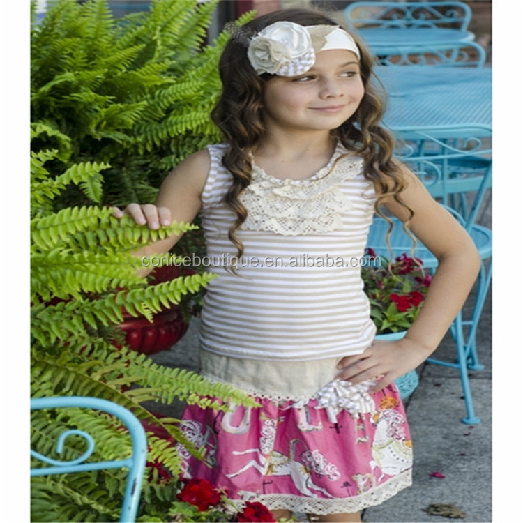2017 Fashion Cotton Knitted Girls Clothing Sets floral top black stripe ruffle pants children outfit
