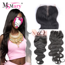 Bleached Knots Lace Closure Human Hair Peruvian Body Wave