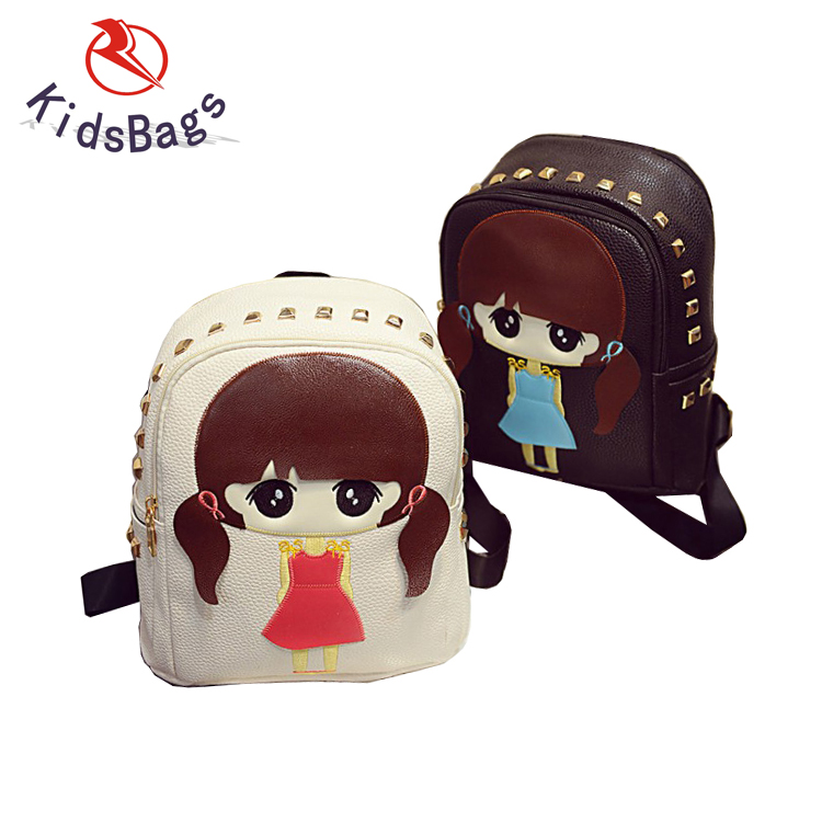 Alibaba New Big Child Girl Back Pack PU Bag with Rivet Cool Girl Backpack Bag