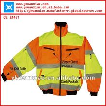 Reverse safety jacket with contrast color,reflective jacket with reverse sides