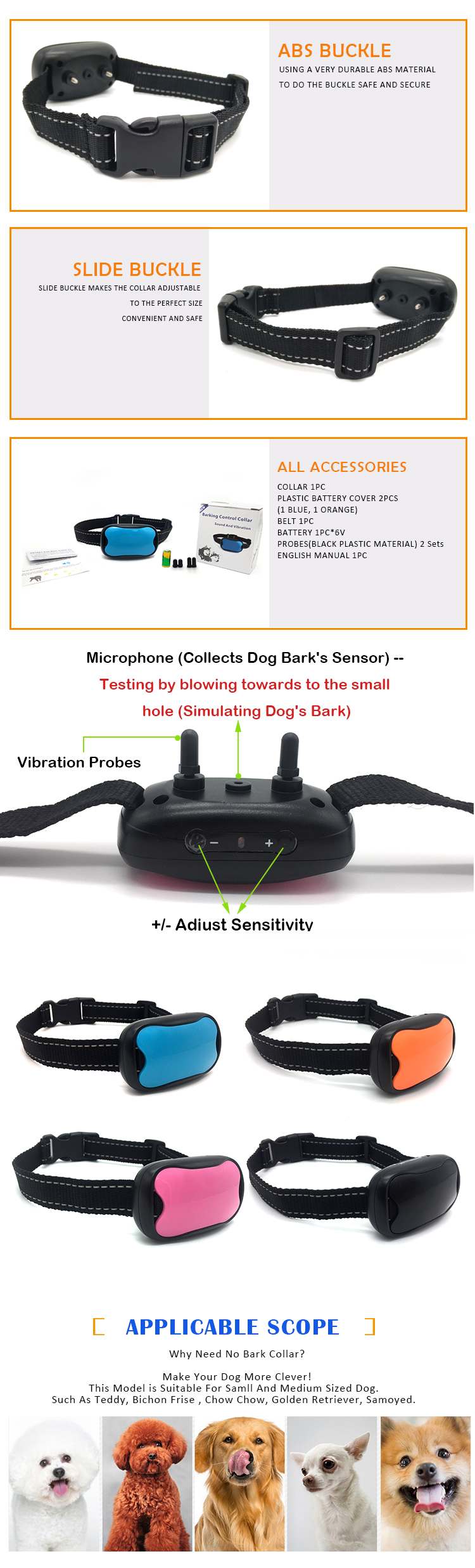 Small Pet Dog Bark Stop Trainer Used Dog Training Vibration Anti Bark Collar, No Shock Control No Bark Dog Collar
