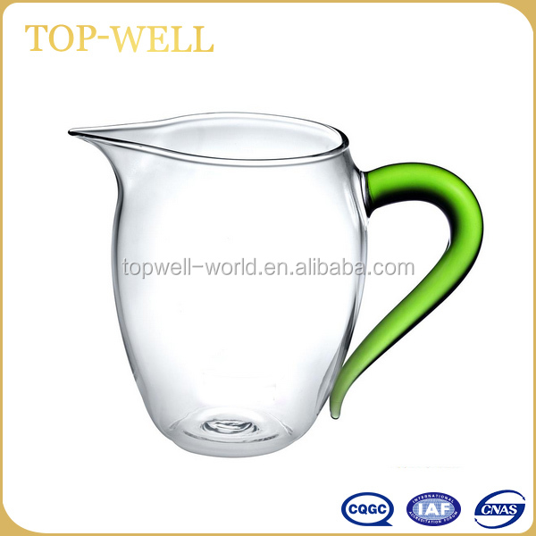 New morden clear glass tea cup glass coffee cup with green handle made in fujian