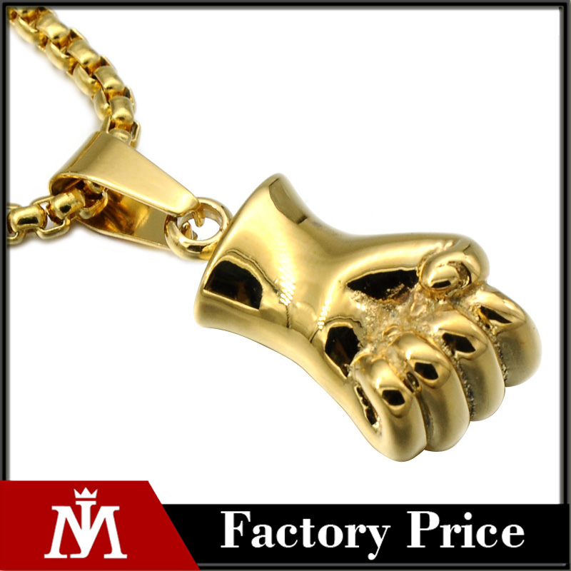 Classic Gold Plated Cool Stainless Steel Fist Pendant Necklace Mens Punk Rock Jewelry