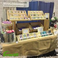 Custom painting wood candle display 3 shelves rack,unique handmade perfume display holders,countertop essential oil display rack