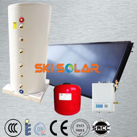 solar water heater:system with solar flat panel& enamel tank with single coil, SKI-SBF, ISO & CE & NEW PRICE