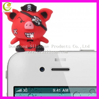 3D Cute pig design cell phone dust plug dustproof plug for mobile phone earphone jack anti dust plug