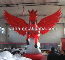 6m high red color giant inflatable flying horse with digital printing for advertising