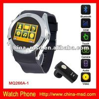 reliable exporter hot selling GSM quad band watch phone with bluetooth and 4GB card