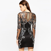 Elegant embroidered lace prom one-piece dress bandage bodycon dress