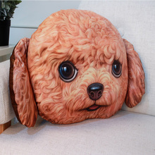 Wholesale Plush Toy Pillow 3D Printing Dog Face Bolster Warm Back Cushion Animal Shaped Throw Pillow
