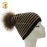 Long Beanie Knit Hat With Fur Poms