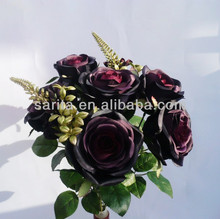 10 heads chiffon description black rose flower bouquet making for wedding&home decoration