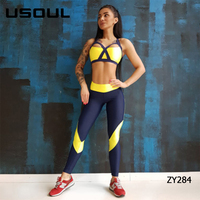 2019 Wholesale Apparel Stretched Sport Fitness Clothing Girl Sports Bra Set Women Activewear Customized Yoga Pants Leggings