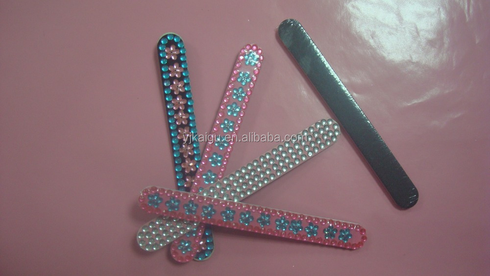 "7"" crystal EVA nail file,glitter emery board"