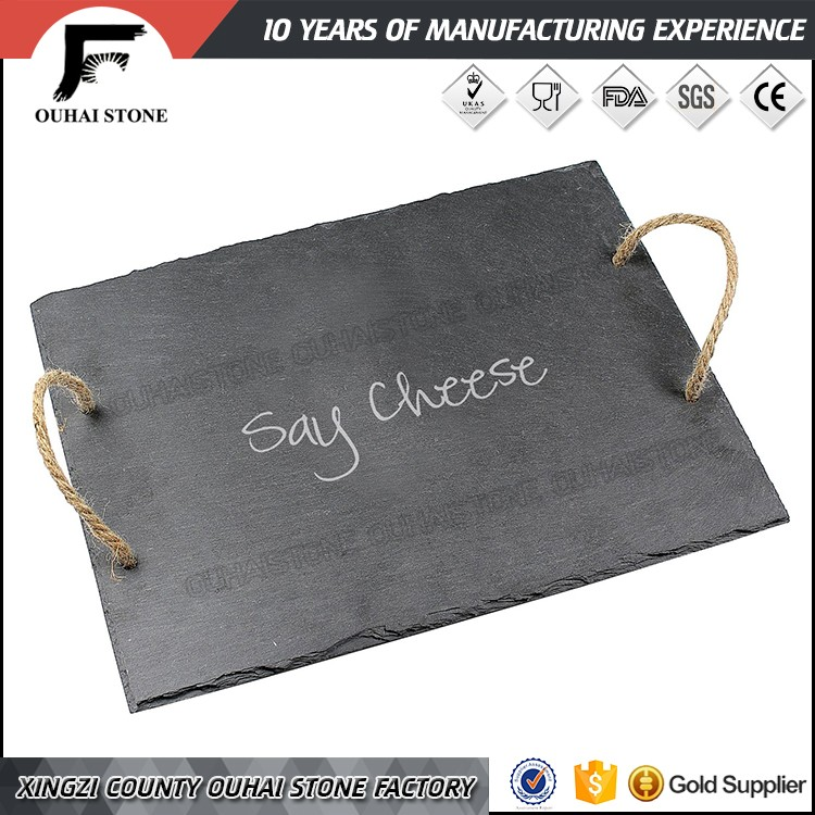Hotsale tableware party use special slate stone plate with handles