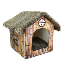 Foldable Fuzzy Roof Bamboo Print Plush Dog House With Cushion