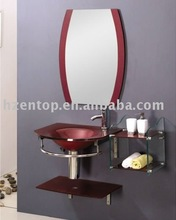 Colourful bathroom basin,with #304 stainless steel frame & tempered glass plate
