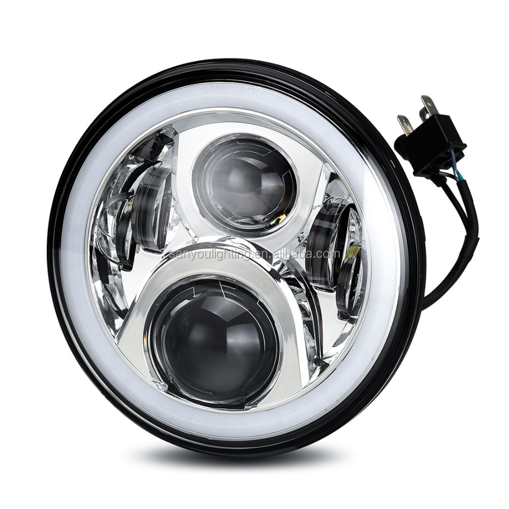 Newest RGB 7 inch led headlight for Jeep Wrangler /JC/JK with Bluetooth Control car h4 led headlight