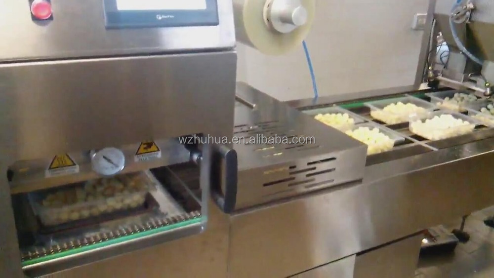 Automatic Continious Lunch Box /Tray with vaccum filling Sealing Machine