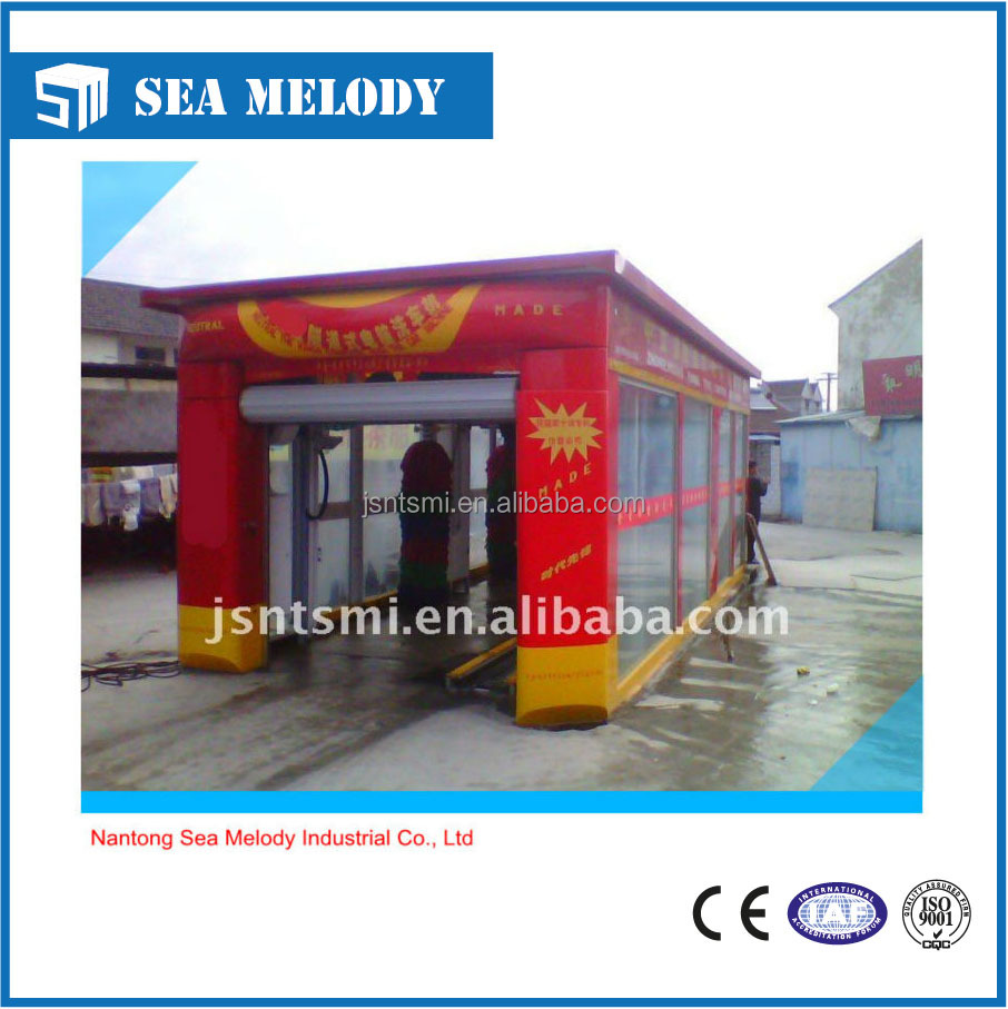 Fully automatic tunnel car washing plant with foam and wax and air dyring