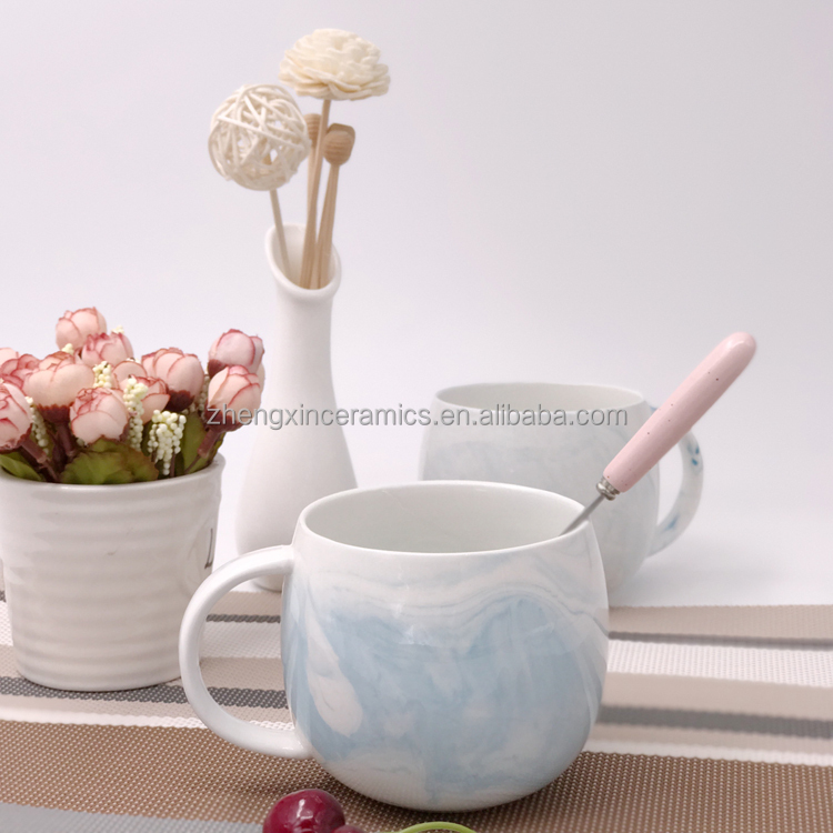 Wholesale creative blue color ceramic tea coffee espresso marble mug <strong>cup</strong>