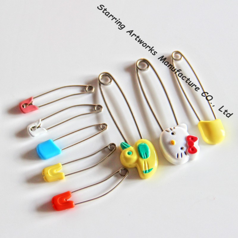 Plastic Head Stainless Steel Diaper Cloth Pin For Baby