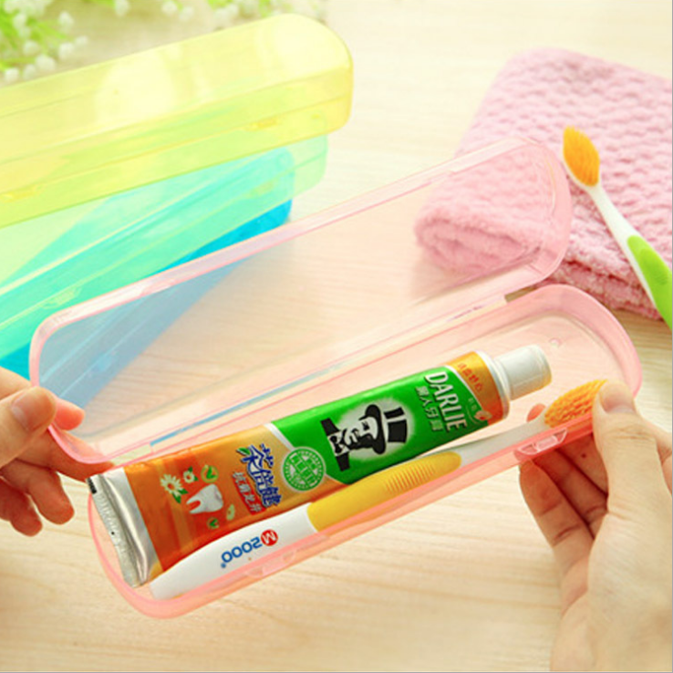 Simple jelly color plastic toothbrush box toothpaste box for travel and outdoor portable toothpick box.