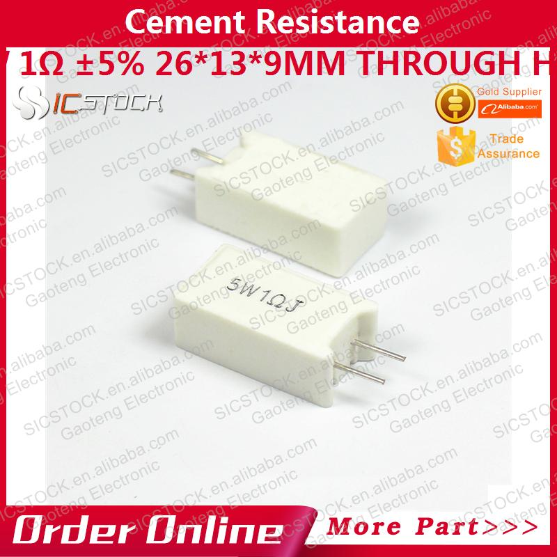 1LOT=10PCS Cement <strong>resistance</strong> 5W 1ohm 5% 26*13*9mm Through Hole V-5W1ohmJ