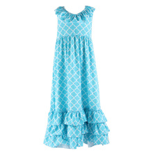 2016 newest design OEM service sleeveless summer cotton knit mix dress 1 years baby fashion cheap long Baby Girl Party Dress