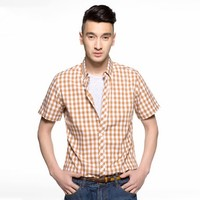 online shopping india latest dress designs 100%cotton short sleeve khaki plaid casual shirts for wholesale
