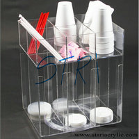 Acrylic Food Displays and Dispensers Acrylic Cup and Lid Holder with Turntable