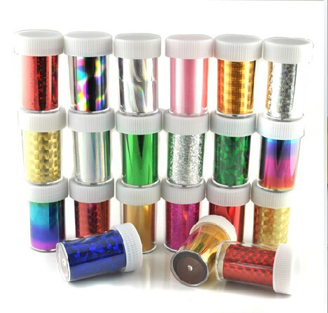 Holograph Sheen Color Nail Foil Art Decorate Roll Strips Transfer Design Variety Patch and Wrap Set