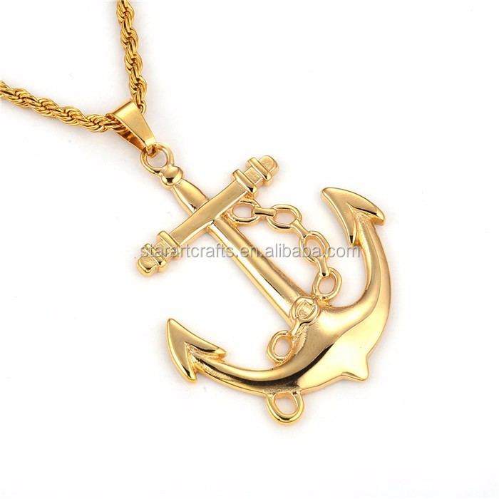 High Quality Men's Polishing Gold Charms Stainless Steel Jewelry Pendant for Punk Jewelry Designgs