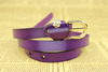 Elegant purpe colour women designer belts with gold rose metal buckle