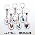 Wholesale custom souvenir feathers printing glass design stainless steel keychain